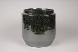 A113T3 Green ceramic planter D28cm H28cm
