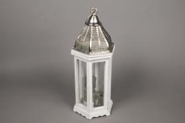 A114HH White wood lantern D21cm H51cm