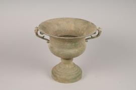 A114NM Antique patina green metal Medici vase D29cm H27cm