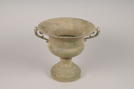 A114NM Vase Médicis en métal vert de gris antique D29cm H27cm