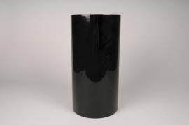 A114PS Cylindric glass vase black D20cm H40cm
