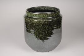 A114T3 Green ceramic planter D36cm H36cm