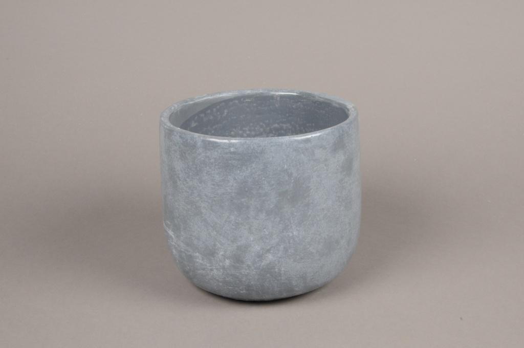 A114TN Cache-pot en terre cuite gris D17cm H15cm