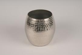 A115BV Silver metal vase D19cm H20cm