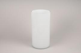 A115PS Vase en verre cylindre blanc D20cm H40cm