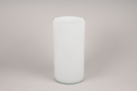 A115PS White cylinder glass vase D20cm H40cm
