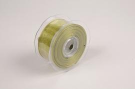 A115UN Green organza ribbon 38cm x 20m