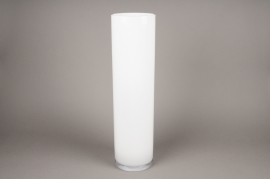 A116I0 Glass cylindrical vase white H60cm