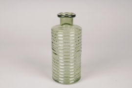 A116R4 Vase bouteille en verre vert D9.5cm H22cm