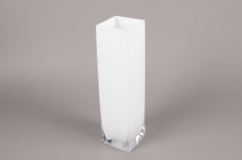 A117I0 Vase en verre blanc 10cm x 10cm H40cm