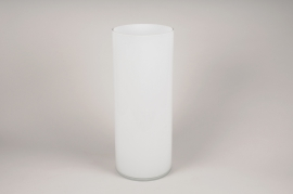 A117PSVase en verre cylindre blanc D20cm H50cm
