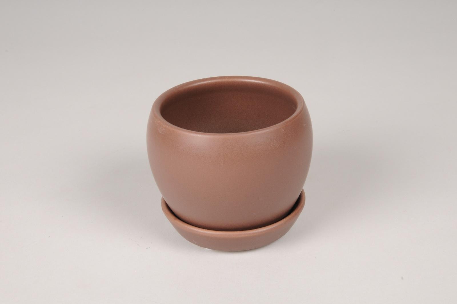 A118HX Cache-Pot en céramique brun D10cm H8.5cm