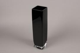 A118I0 Vase en verre noir 10cm x 10cm H40cm