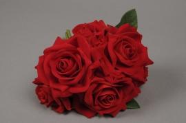 a118nn Bouquet de 6 roses artificielles rouge H25cm