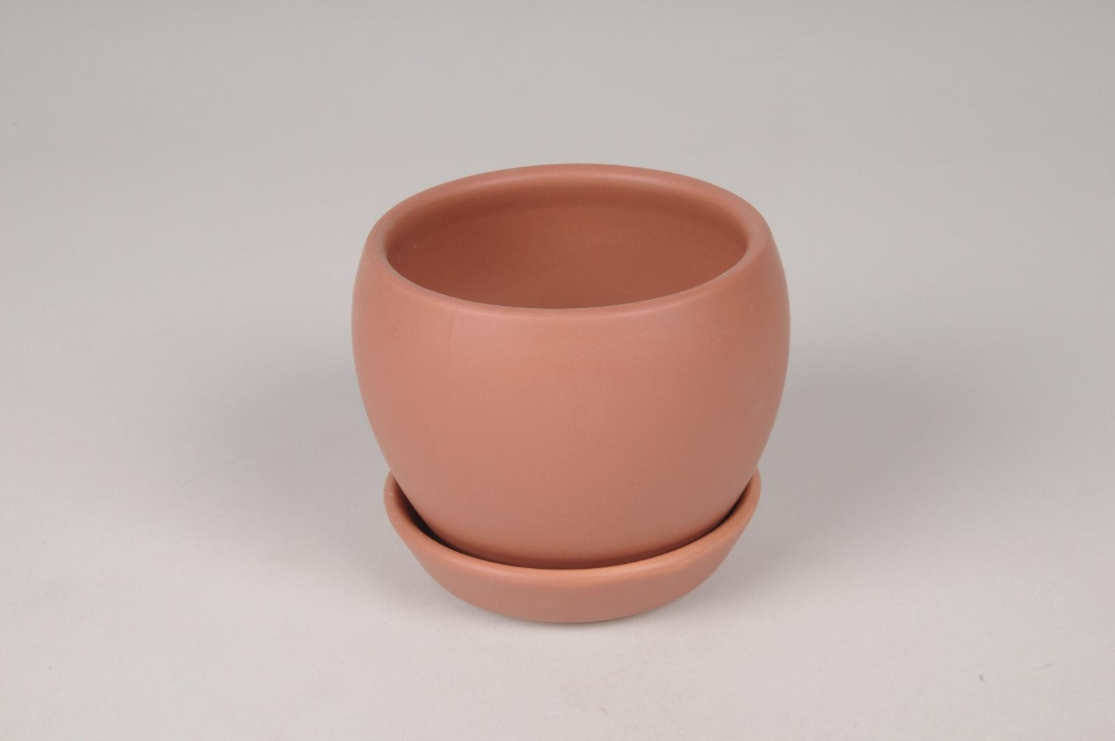A119HX Cache-Pot en céramique terre de sienne D10cm H8.5cm
