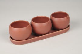 A120HX Trio de cache-pots en céramique rouge brique