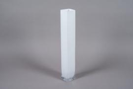 A120I0 White glass vase 10cm x 10cm H70cm