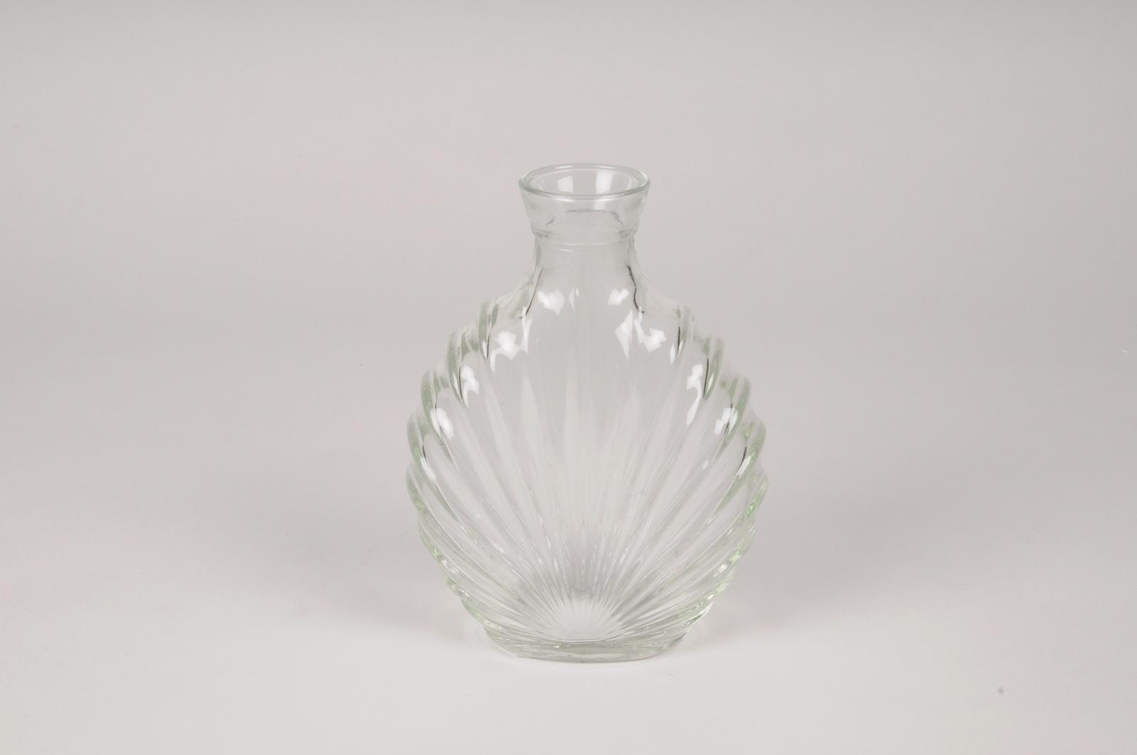 A121R4 Vase en verre feuille L12.5cm H17cm