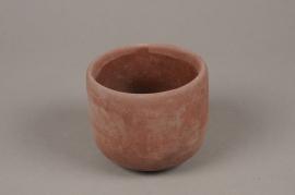 A121TN Cache-pot en terre cuite rose D11cm H9.5cm