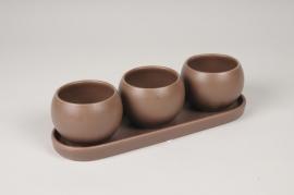 A122HX Trio de cache-pots en céramique bruns