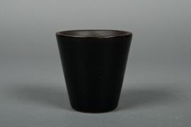 A122QS Ceramic pot black D7cm H8cm