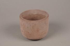 A122TN Cache-pot en terre cuite rose D12.5cm H10.5cm