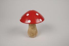 a122wg Champignon en bois de manguier rouge et blanc D10cm H12cm