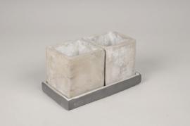A123HX Duo de cache-pots en béton gris 7.5x7.5cm