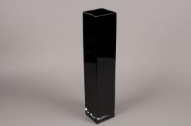A123I0 Vase en verre noir 10cm x 10cm H50cm