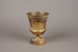 A124NM Vase Médicis en métal or antique D16cm H21cm