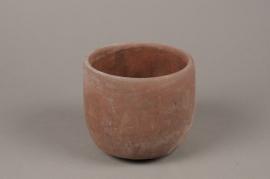 A124TN Cache-pot en terre cuite rose D14cm H13cm