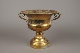 A125NM Vase Médicis en métal or antique D29cm H27cm