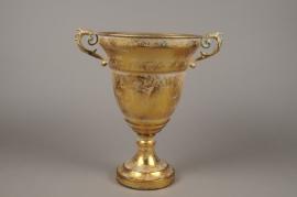A126NM Vase Médicis en métal or antique D24cm H35cm
