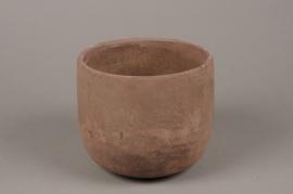 A126TN Cache-pot en terre cuite rose D17cm H15cm