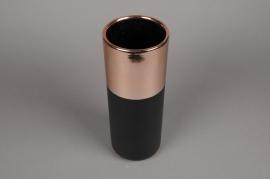 A126VU Ceramic black and copper vase D12cm H32cm