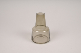 A127W3 Vase soliflore en verre avec col gris D8cm H12cm