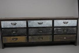 A128HH Commode en bois et métal 100cm x 25cm H55cm