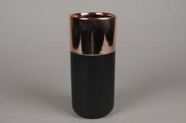 A128VU Vase en céramique noir et cuivre D11cm H25cm