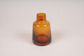 A130W3 Vase soliflore en verre avec col ambre D8cm H12cm