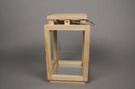 A132HH Wood and glass lantern 18cm x 18cm H31cm