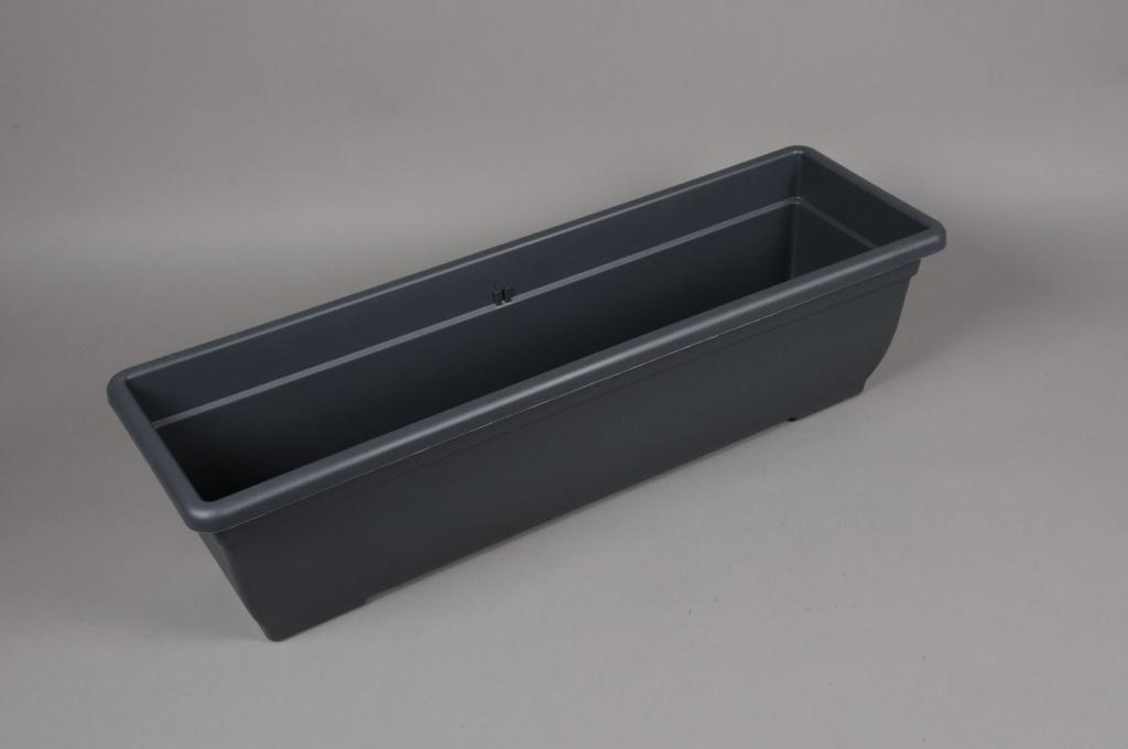 A132NT Jardinière en plastique gris 24cm x 80cm H21cm