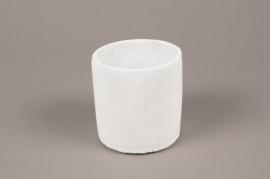 A132TN Cache-pot en terre cuite blanc D10cm H11cm