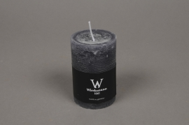 A133E2 Boîte de 8 bougies rustique grise D6 H9cm