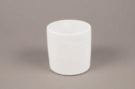 A135TN Cache-pot en terre cuite blanc D11cm H11cm