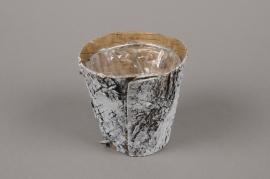 A137DZ Cache-pot en écorce blanchi D10.5cm H10cm