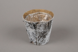 A137DZ Whitened wood bark planter D10.5cm H10cm