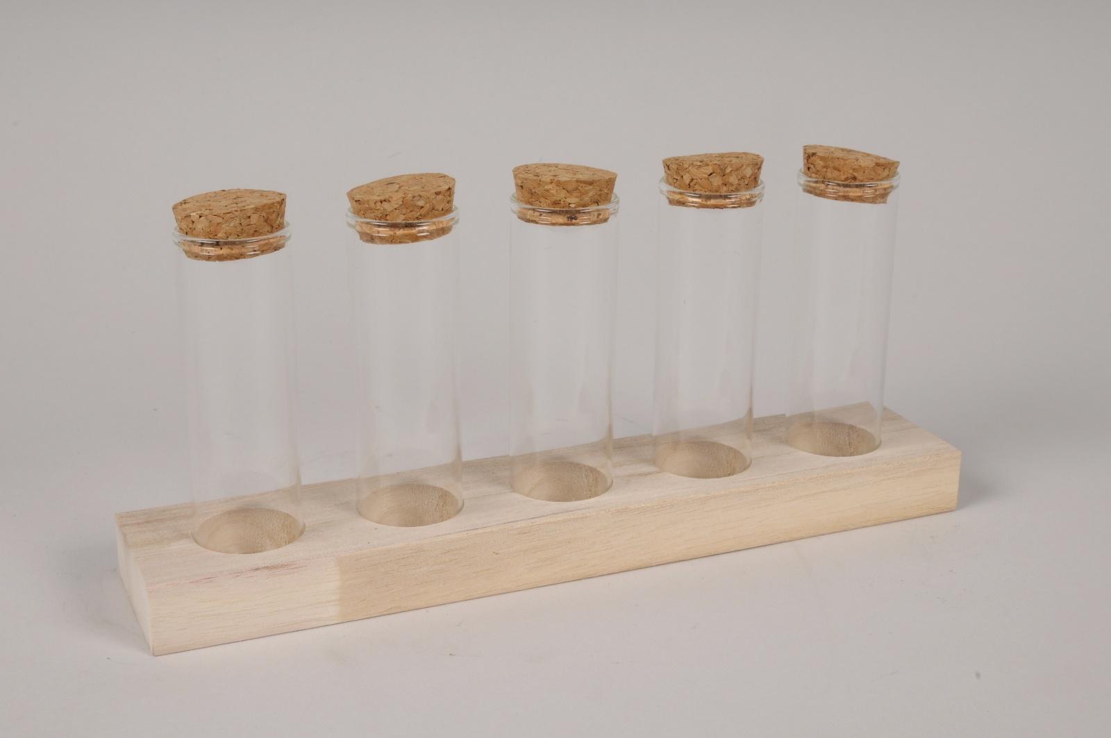 A137PM Plateau de cinq pipettes en verre L24.5cm H11.5cm
