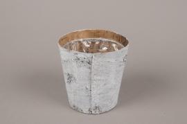 A138DZ Cache-pot en écorce blanchi D12cm H12cm