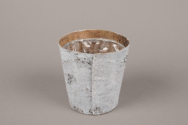A138DZ Whitened wood bark planter D12cm H12cm