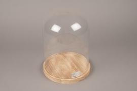 A138I0 Cloche en verre avec plateau bois D22cm H30cm